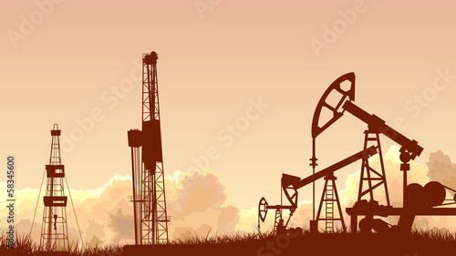 Fototapeta Horizontal sunset sky with units for oil industry. obraz