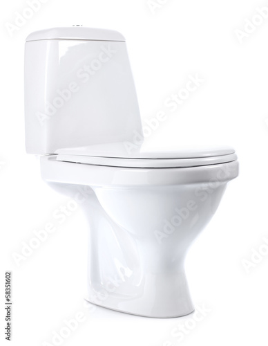 toilet bowl isolated on white background Poster