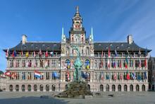Antwerp City Hall And Brabo Fountain, Belgium