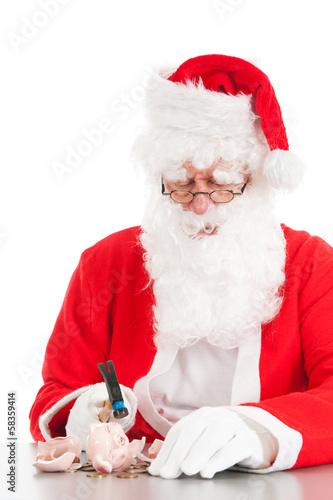 Santa breaking his piggy bank Poster