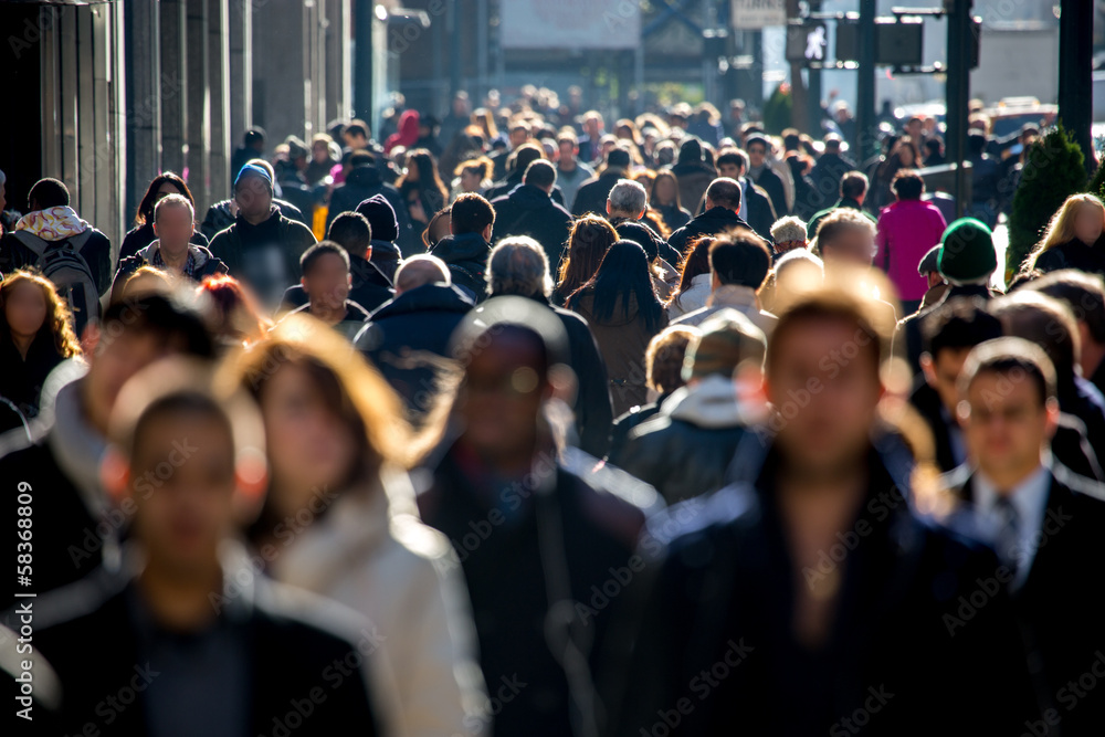 Fototapety, obrazy: Anonymous crowd of people walking on city street