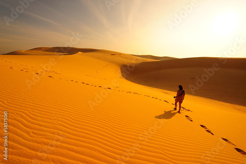 Poster de jardin Desert de sable Desert Landscape at Sunrise