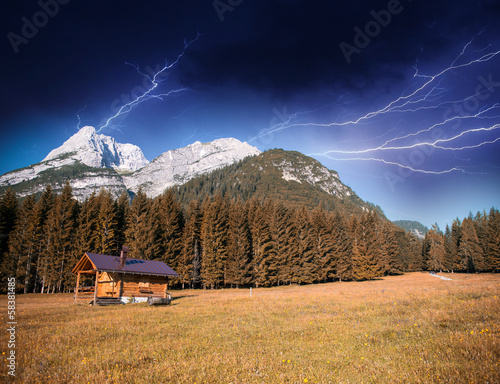 Photo  Thunderstorm across Mountain Valley