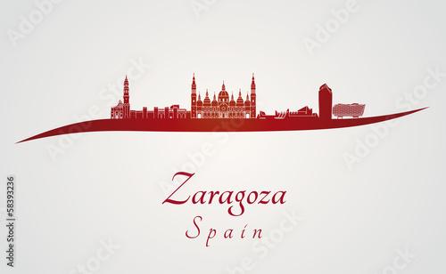 Zaragoza skyline in red