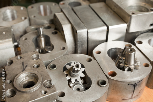 Fotografie, Obraz  metal parts of hydraulic machines