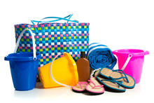 Beach Bag With Buckets, Towel, Flip-flops And Suntan Lotion