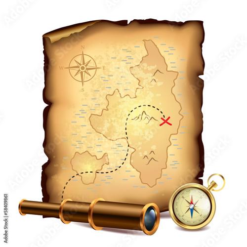 Fotografía Pirates treasure map with spyglass and compass