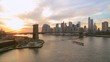 New York City Brooklyn Bridge downtown skyline evening