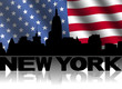 New York skyline and text reflected American flag illustration