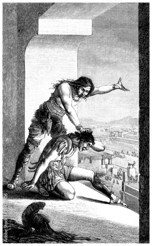 Barbarian defeating a Roman Centurion Canvas Print