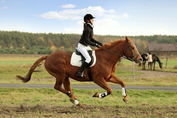 Młoda dziewczyna galopuje na koniu.