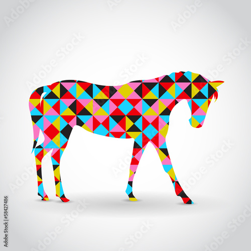 Poster Geometric animals Abstract vector horse with geometric pattern