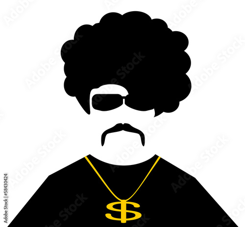 Fotografie, Obraz  cool man with gold chain necklace and afro