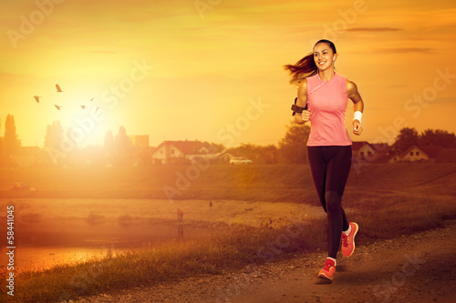 Foto op Canvas Jogging Female jogger