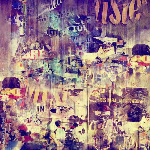 Papiers peints Pop Art Fond bois et affiches vintages