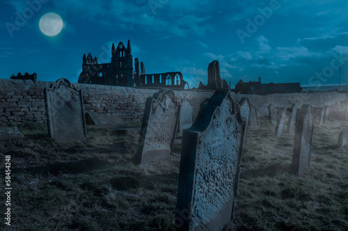 Foto op Canvas Begraafplaats Whitby Abbey, Yorkshire, UK