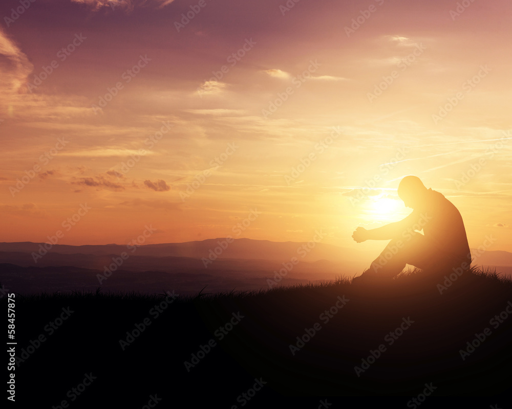 Fototapety, obrazy: Praying at sunrise