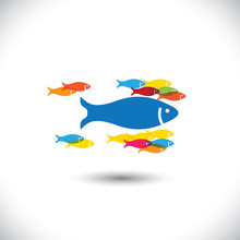 Concept Of Leadership & Authority - Big Fish Leading Small Fishe