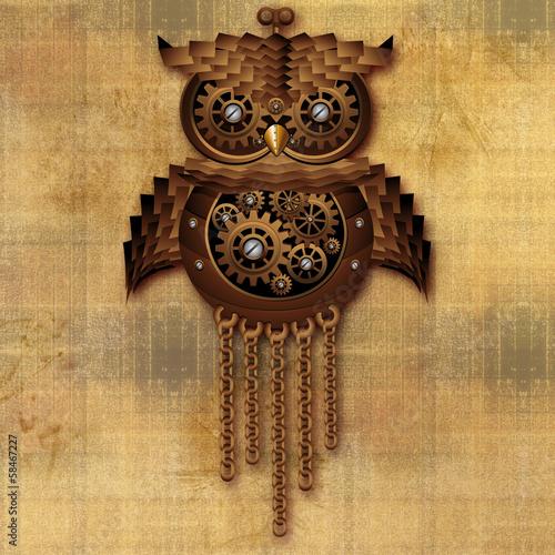 Steampunk Owl Vintage Style-Gufo Giocattolo Antico