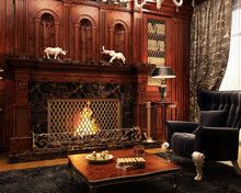 Fireplace Room In Classic Style