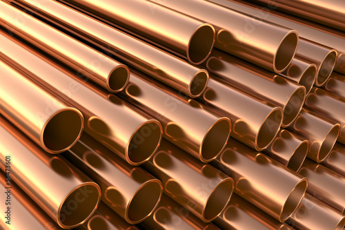 Fotografia  Copper pipes on warehouse. 3d illustration