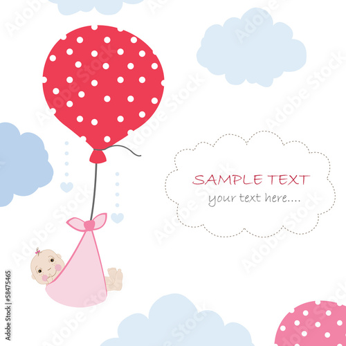 Poster Abstract bloemen Baby arrival card with balloon and clouds greeting vector