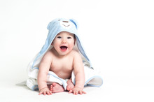 Cute Baby In A Towel Isolated ...