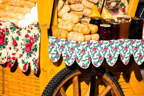 Traditional polish smoked cheese oscypek on market in Zakopane