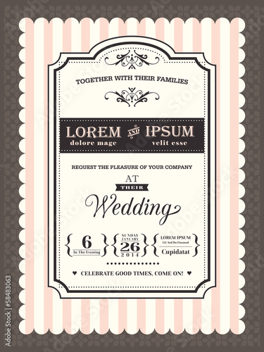 Vintage Wedding invitation border and frame template - Buy this ...