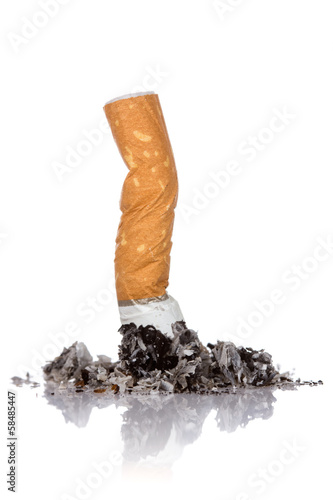 Fotografija  Single cigarette butt with ash