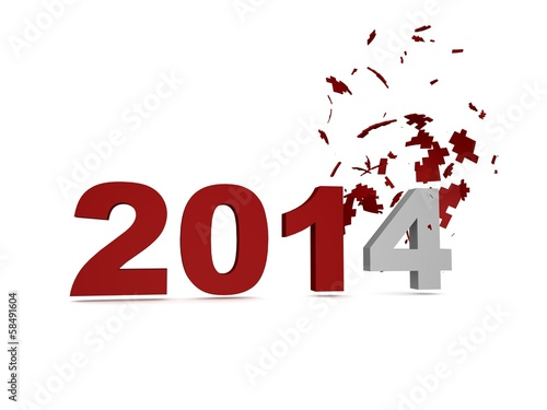 Obraz 2014 New Year Crashed Past -Red - fototapety do salonu