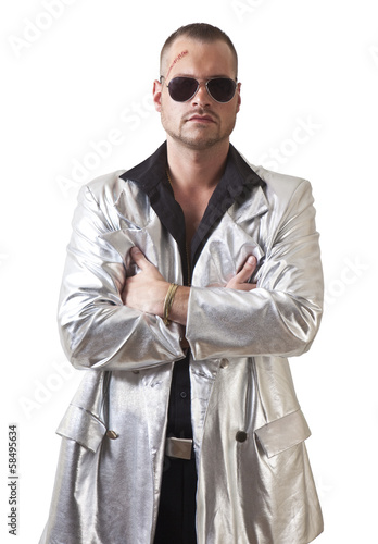 man with laceration and sunglasses Wallpaper Mural