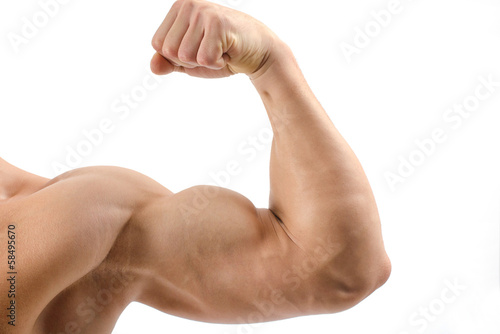 Close up on a bodybuilder biceps,shoulder,arm Canvas Print