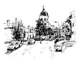 sketch vector illustration of Kiev historical building, Ukraine