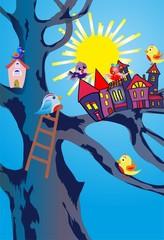 Panel Szklany Do pokoju dziecka ptasie miasto,