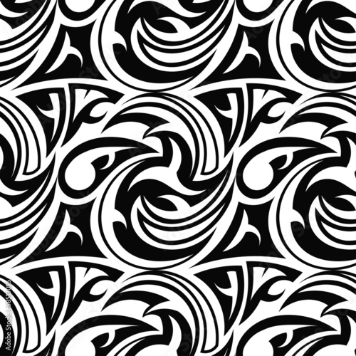 Black and white seamless texture tribal Wallpaper Mural