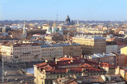 Poster Artistique Top view of the cityscape Saint Petersburg