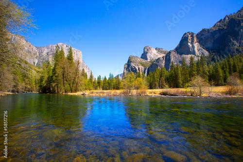 Poster Parc Naturel Yosemite Merced River el Capitan and Half Dome