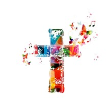 Colorful Cross Background With Butterflies