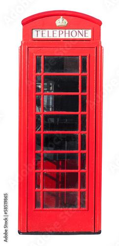 Fotografie, Tablou  Red Telephone Box on White