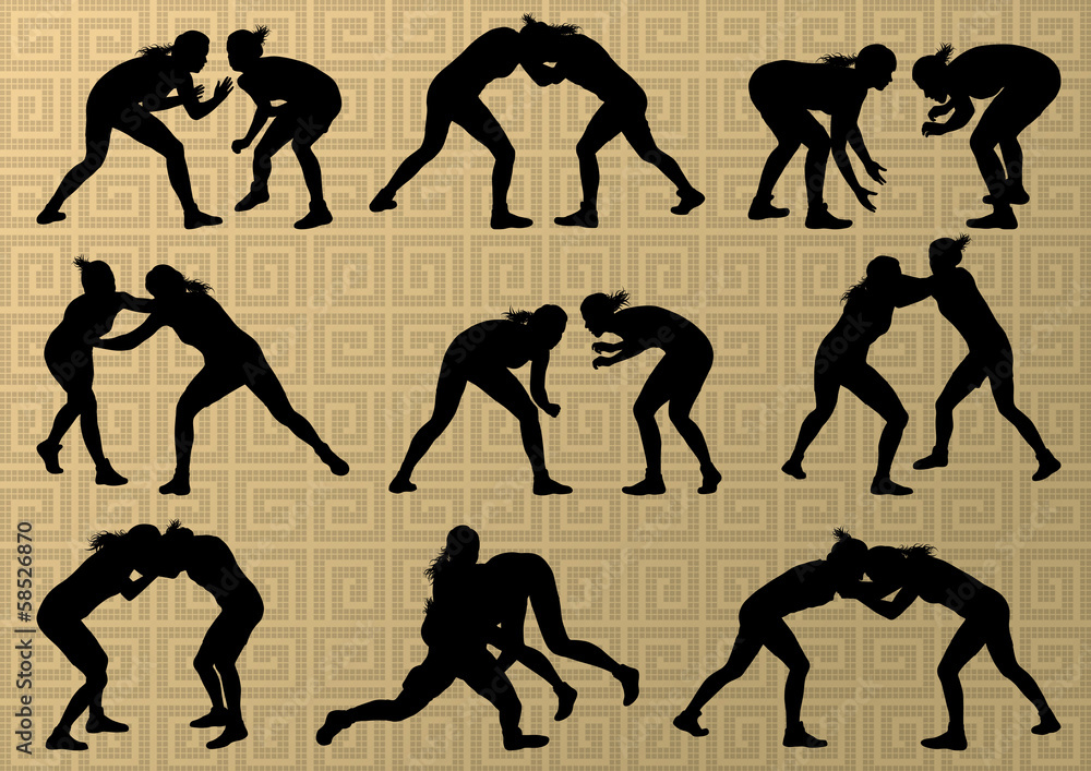 Fotografie, Obraz  Greek roman wrestling active young women sport silhouettes vecto