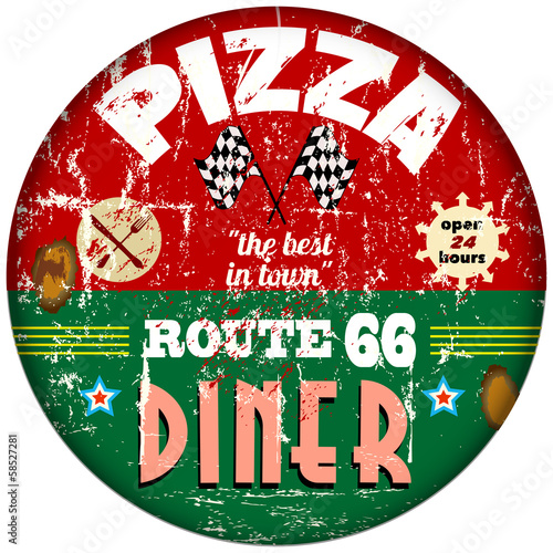 vintage route 66 pizza / diner sign, retro, vector eps 10