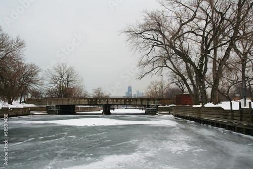 Foto op Plexiglas Chicago Frozen lake in Chicago