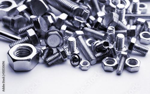 bolts, screws, blue tone photo