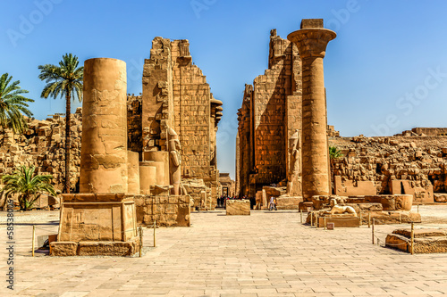 Photo Stands Egypt Temple complex of Karnak in Luxor Egypt