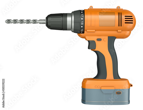 Fotografia  Orange cordless drill isolated on a white background. 3D render.