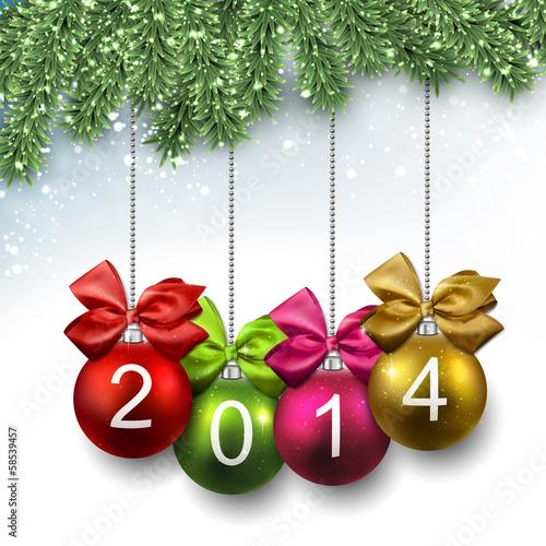 Photo 2014 christmas balls on fir branches.