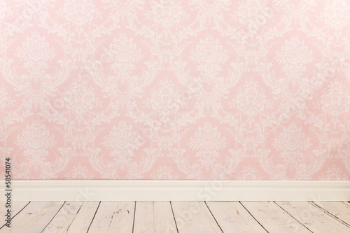 Tuinposter Retro Vintage wall and wooden floor