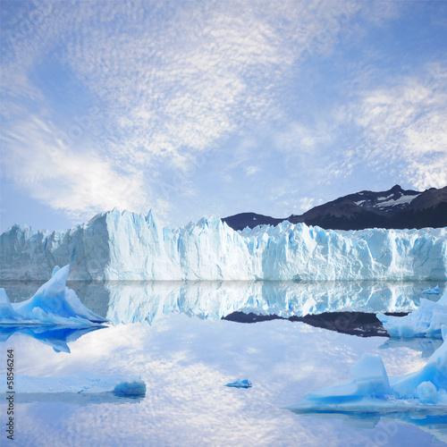 Glacier and icebergs.