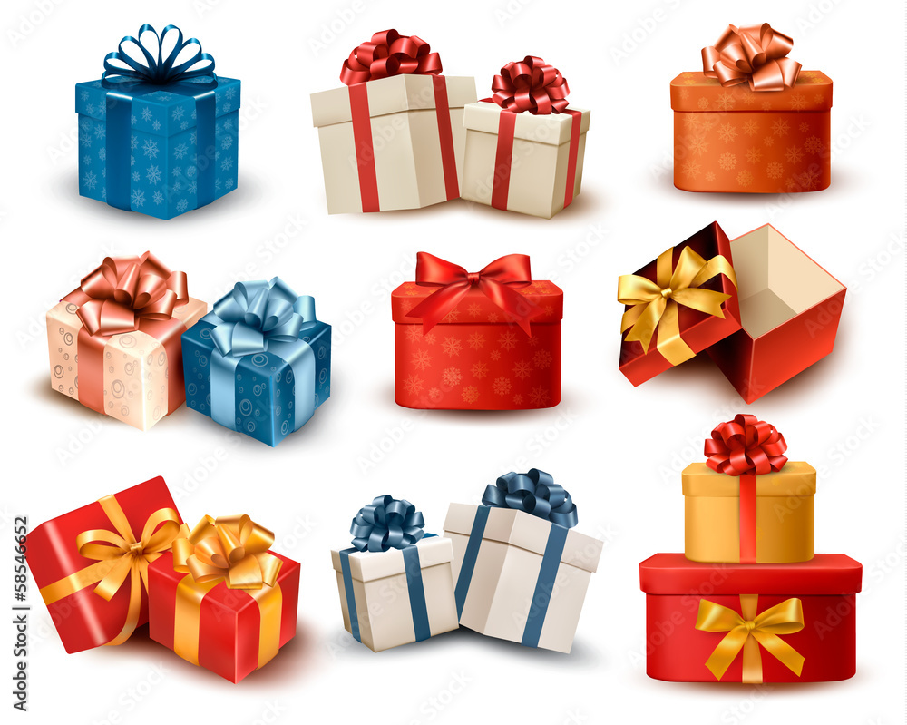 Fototapeta Set of colorful retro gift boxes with bows and ribbons. Vector i